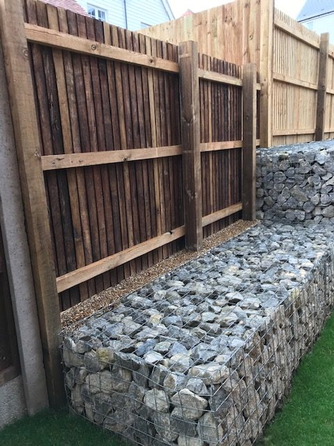 Gabion Wall with Retaining Fence installed