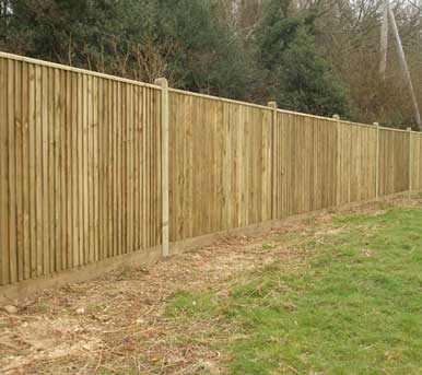 Close Board Fencing with Wooden Panels